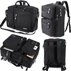 FreeBiz Laptop Backpack Messenger Bag-Hybrid Briefcase BookBag Rucksack with Handle and Shoulder ...