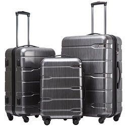 Coolife Luggage Expandable 3 Piece Sets PC+ABS Spinner Suitcase 20 inch 24 inch 28 inch (Charcoa ...