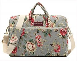 Canvaslove Grey Rose 13 inch Waterproof Laptop Shoulder Messenger Bag Case With Rebound Bubble P ...