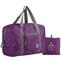 Wandf Foldable Travel Duffel Bag Luggage Sports Gym Water Resistant Nylon (Plum)