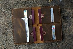 Personalized distressed leather family passport holder case organizer / Leather family 4 passpor ...