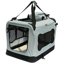 Soft Sided Pet Carrier with Steel Frame – Dog House Style Portable Pet Crate – Cats  ...