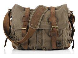 Sechunk Canvas Leather Messenger Bag Shoulder Bag Cross Body Bag For Men Military Travel Women S ...