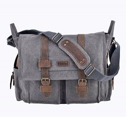 Men's Messenger Bag Canvas Leather Bag Briefcase Unisex Cross Body Shoulder Bag Laptop Han ...