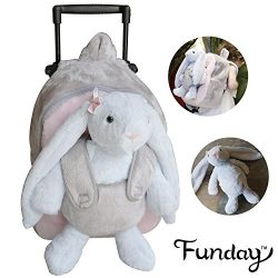 Funday 3-Way Toddler Backpack with wheels – Little Kids Luggage with Stuffed Animal Toy Ra ...
