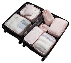 8 Set Packing Organizer,Waterproof Mesh Travel Luggage Packing Cubes with Shoes Bag (Pink alpaca)