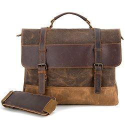 Kopack Waterproof Laptop Briefcase 15.6 inch Waxed Canvas Genuine Leather Bag Coffee