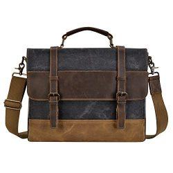 Kopack Mens Messenger Bag 15.6 Inch Waterproof Genuine Leather Waxed Canvas Briefcase Vintage Le ...