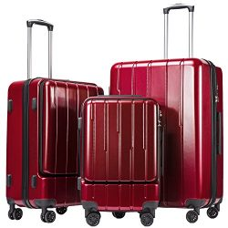 Coolife Luggage Expandable Suitcase 3 Piece Set ABS+PC TSA Lock with Computer Pocket (Wine Red new)