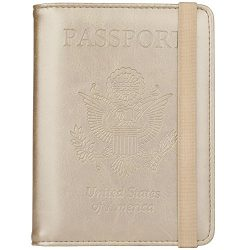 GDTK Leather Passport Holder Cover Case RFID Blocking Travel Wallet (Gold #3)