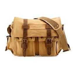 GEARONIC Men's Messenger Bag 15″ Laptop Satchel Vintage Rucksack Shoulder Leather Cr ...