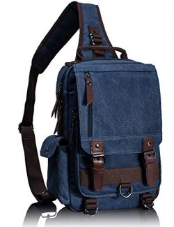 Leaper Canvas One Strap Sling Cross Body Messenger Bag Shoulder Backpack Rucksack (Large,Dark Blue)