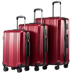 Coolife Luggage Expandable Suitcase 3 Piece Set with TSA Lock Spinner 20in24in28in (wine red4)