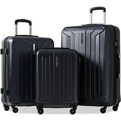 Flieks 3 Piece Luggage Set Eco-friendly Spinner Suitcase with TSA Lock (Black)