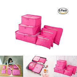 6 pcs Luggage Packing Organizers Packing Cubes Set for Travel Vinmax Storage Bags with Laundry B ...