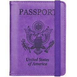 GDTK Leather Passport Holder Cover Case RFID Blocking Travel Wallet (Purple #3)