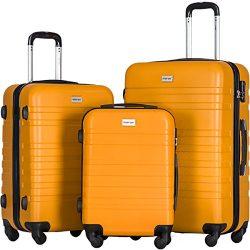 Merax Luggages 3 Piece Luggage Set Lightweight Spinner Suitcase (Orange)