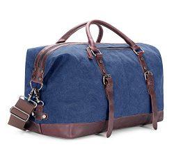 BAOSHA Oversized Canvas PU Leather Travel Tote Duffel Bag Weekender Overnight Bag (Blue)