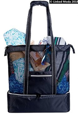 Travel Totes Shoulder Bag Mesh Cooler Lunch Bag – Black White Grocery Bag