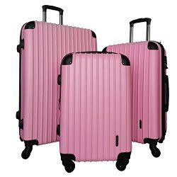 3 PC Luggage Set Durable Lightweight Spinner Suitecase LUG3 9018 PINK