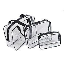 BCP 3 Piece Clear PVC Waterproof Travel Toiletry Organizer Storage Bag Set With Zipper Closure G ...