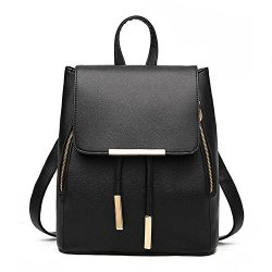 Women Leather Shoulder Bag Travel Camping Backpacks Schoolbags (Black)
