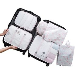 Belsmi 7 Set Packing Cubes With Shoe Bag – Compression Travel Luggage Organizer (Fire Flam ...