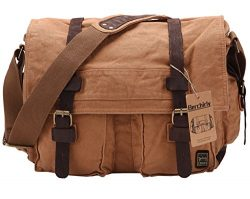 Berchirly Vintage Military Men Canvas Messenger Bag for 14.7Inch