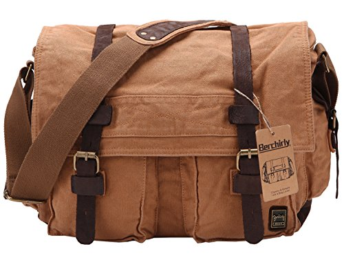 Berchirly Vintage Military Men Canvas Messenger Bag for 17.3Inch Laptop
