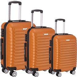 Luggage Set 3 Piece ABS Trolley Suitcase Spinner Hardshell Lightweight Suitcases TSA (orange)