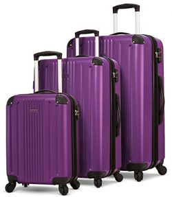 TravelCross Milano Luggage 3 Piece Lightweight Spinner Set (Purple)