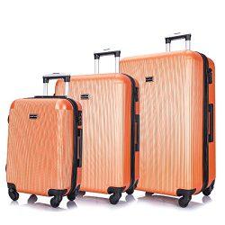 3 PC Luggage Set Durable Lightweight Hard Case pinner Suitecase -LUG3-LY71-ORANGE