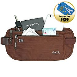 Day Tip Money Belt – Passport Holder Secure Hidden Travel Wallet with RFID Blocking, Under ...