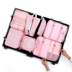 7Pcs Packing Cubes, Travel Luggage Packing Organizers – Multi-functional Clothing Sorting  ...