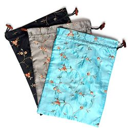 Elesa Miracle Embroidered Silk Jacquard Travel Bag, Lingerie & Shoes Bag, 3 Packs, Sky Blue, ...