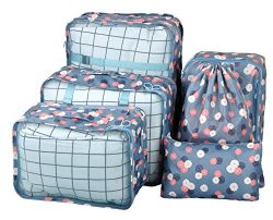Vercord 6 Set Mesh Packing Cubes And Storage Bags Pack Travel Durable Luggage Organizers, Blue F ...