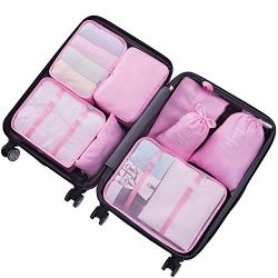 8 Set Packing Cubes – Compression Travel Storage Luggage Organizer Bags for Women Travel S ...