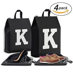 Personalized Initial Travel Shoe Bag (4 Pack) for Men, Women and Kids – (Letter K)
