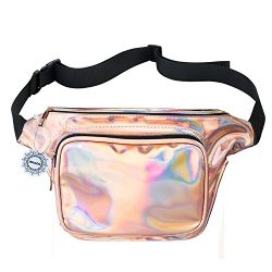 WODODO Fanny Pack for Women Party Waist Festival Money Belt Leather Pouch Concert HolographicWa ...