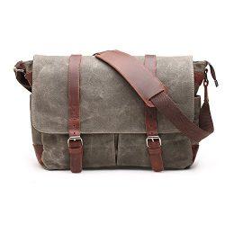 H-ANDYBAG Canvas Messenger Bag 15 Inch Shoulder Laptop Bag Waxed for Men (Army Green)