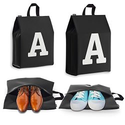 Personalized Initial Travel Shoe Bag (4 Pack) for Men, Women and Kids – (Letter A)