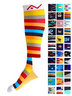 Compression Socks (1 pair) for Women & Men (Summer Stripes, L/XL)