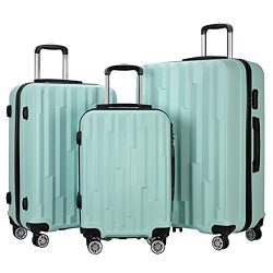 3 Pieces Lightweight Wheel Spinner Luggage Sets Hardside Suitcase ABS School Rolling Trolley wit ...