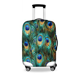 Sannovo Blue Peacock Fur Print Suitcase Travel Bag Case Protective Cover Luggage Tag S