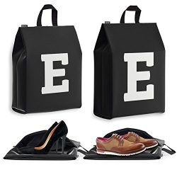 Personalized Initial Travel Shoe Bag (4 Pack) for Men, Women and Kids – (Letter E)