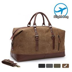 MEWAY Leather Canvas Duffle Bag Weekend Overnight Bag Travel Tote Duffel Luggage with Strap (HAN ...