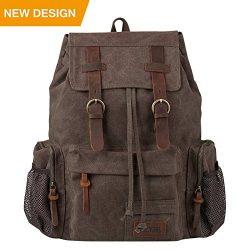 P.KU.VDSL Leather Backpack for women, Vintage Canvas Backpack for Men, Casual Bookbag for School ...