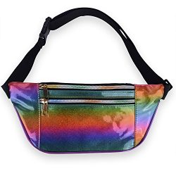LEADO Holographic Fanny Pack Metallic 80s Fanny Packs for Women and Men, Fashion Waist Pack Adju ...