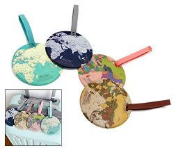 4Pcs PVC World Map Name Tag Travel Luggage Tags Suitcase Luggage Bag ID Tag (World Map)