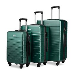 Luggage Sets Spinner Hard Shell Suitcase Lightweight Luggage – 3 Piece (20″ 24&#8243 ...